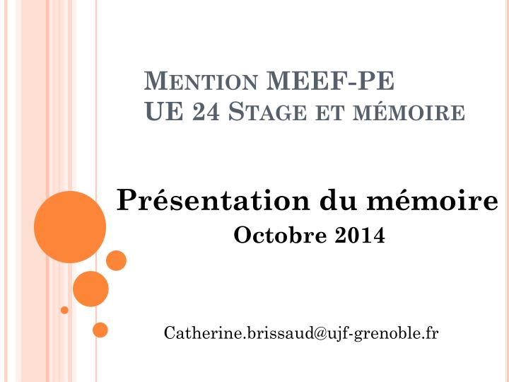 Mention meef pe ue 24 stage et m moire