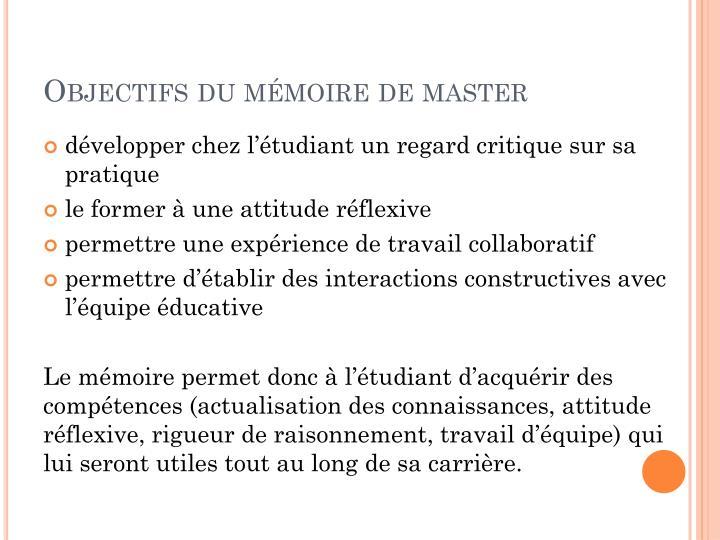Objectifs du mémoire de master
