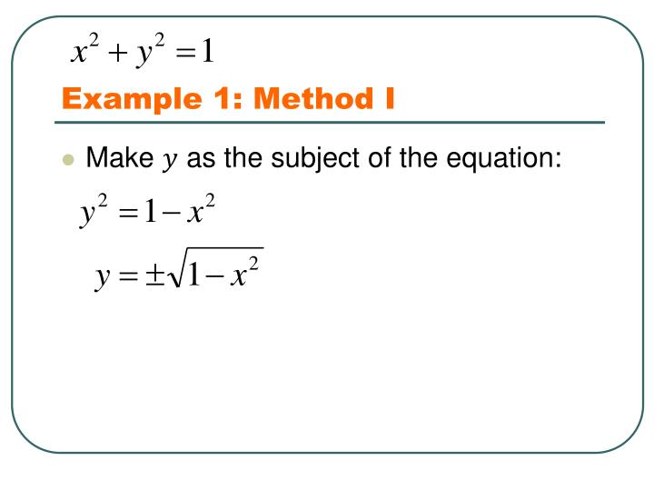 Example 1: Method I