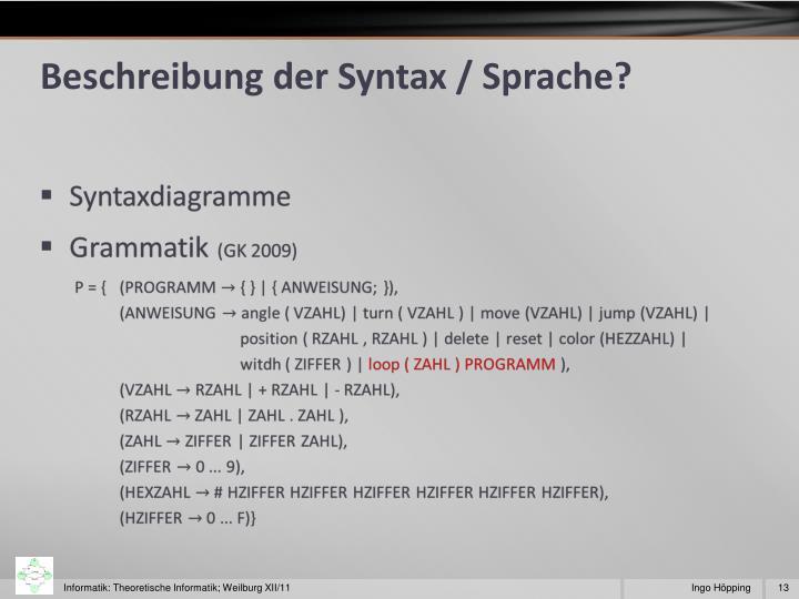 Beschreibung der Syntax / Sprache?