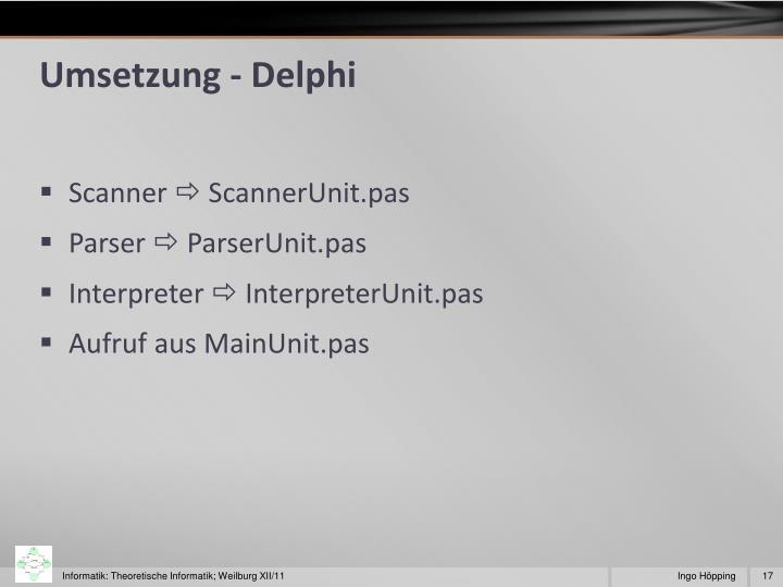 Umsetzung - Delphi