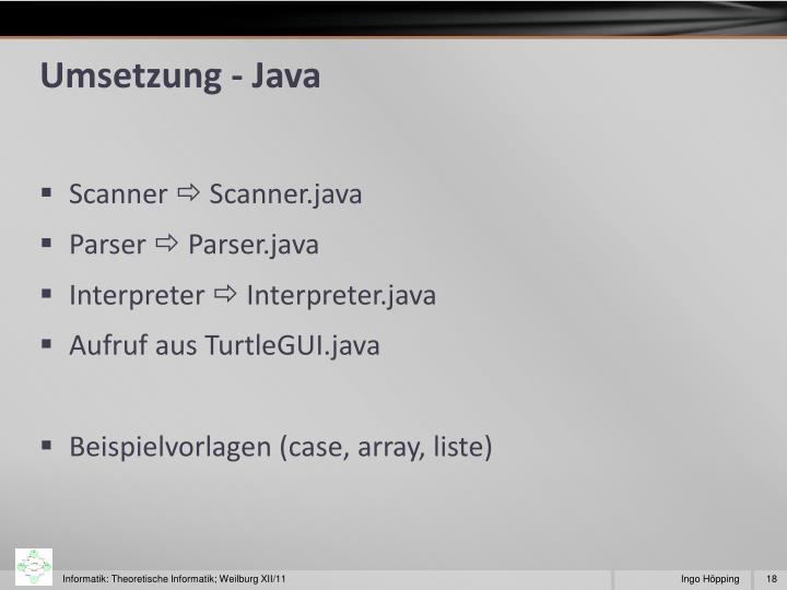 Umsetzung - Java
