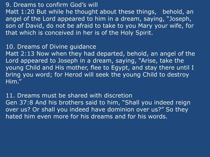 9. Dreams to confirm Gods will