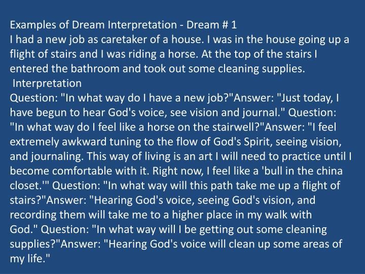 Examples of Dream Interpretation - Dream # 1