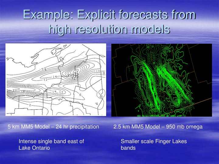 Example: Explicit forecasts from high resolution models