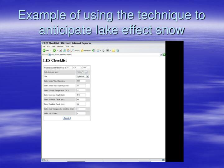 Example of using the technique to anticipate lake effect snow