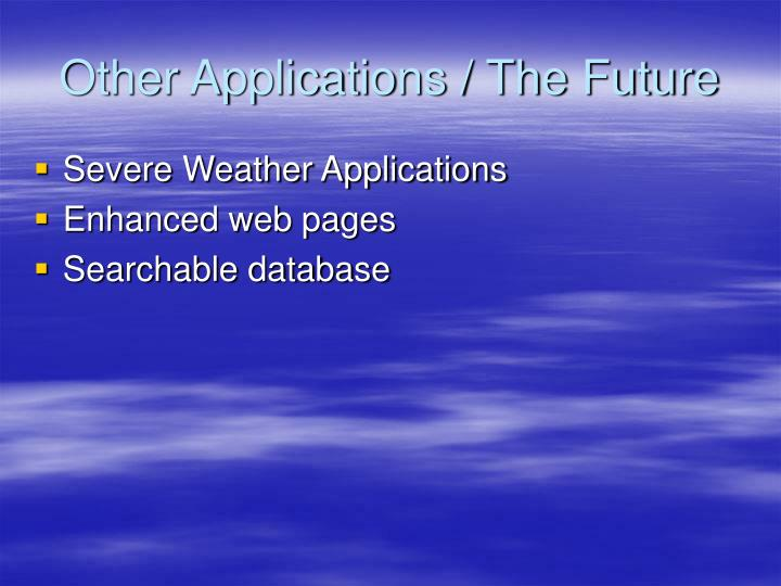 Other Applications / The Future