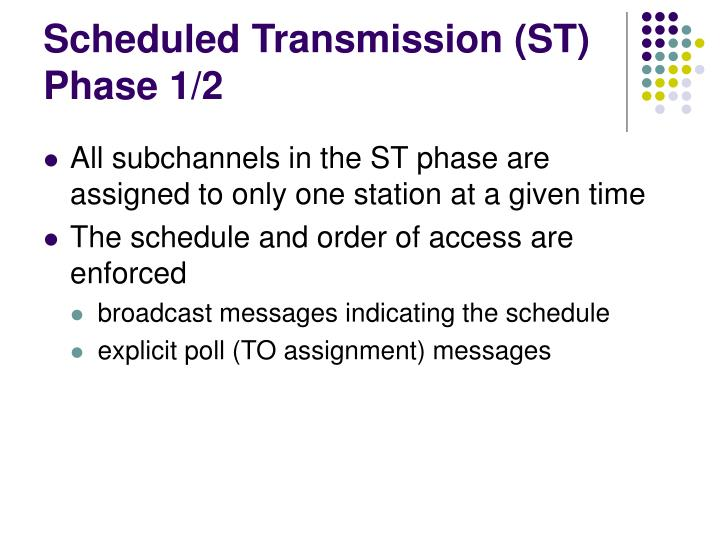Scheduled Transmission (ST) Phase 1/2