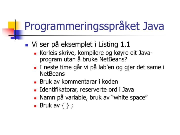 Programmeringsspråket Java