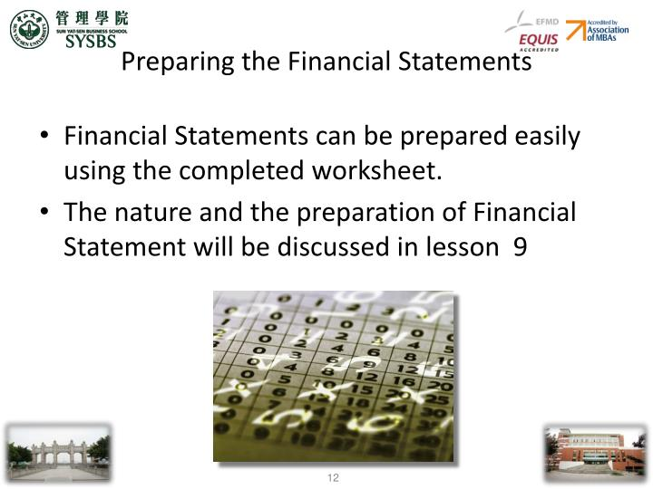 Preparing the Financial Statements