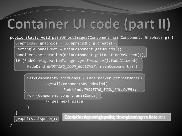 Container UI code (part II)