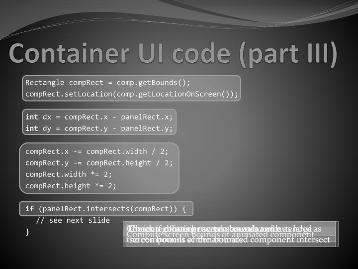 Container UI code (part III)