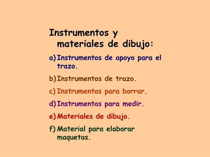 Instrumentos y materiales de dibujo: