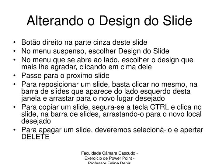 Alterando o Design do Slide