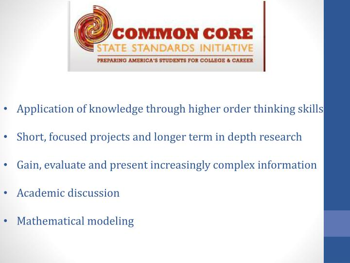 Application of knowledge through higher order thinking skills