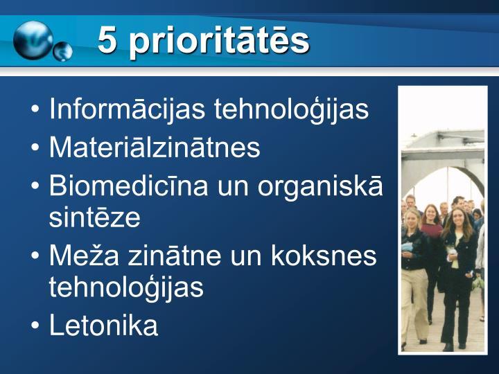5 prioritātēs