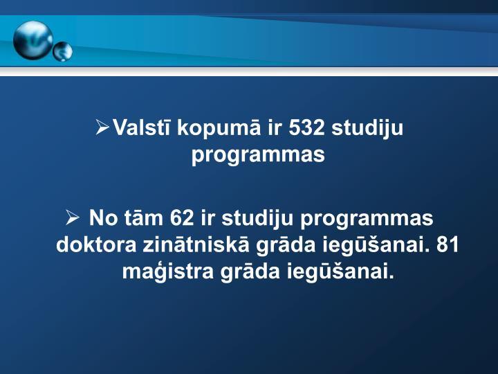 Valstī kopumā ir 532 studiju  programmas
