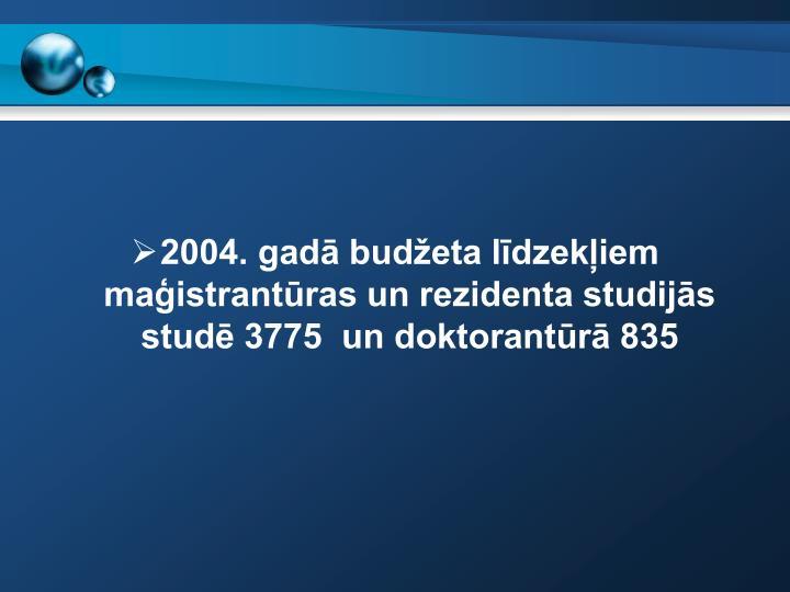 2004. gadā budžeta līdzekļiem maģistrantūras un rezidenta studijās studē 3775  un doktorantūrā 835