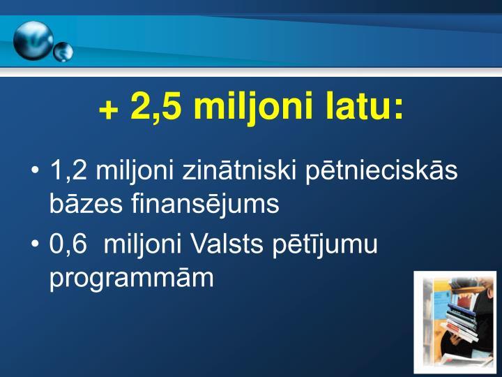 + 2,5 miljoni latu: