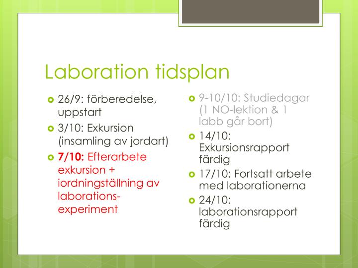 Laboration tidsplan