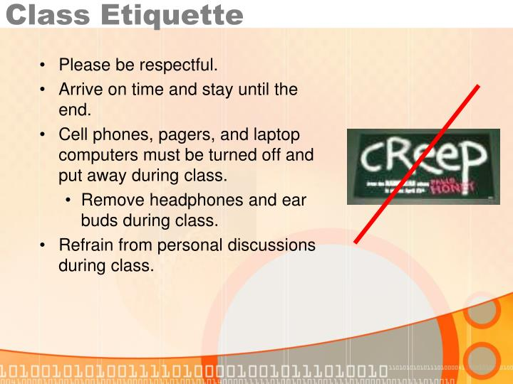 Class Etiquette