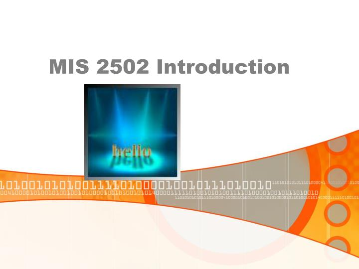 Mis 2502 introduction