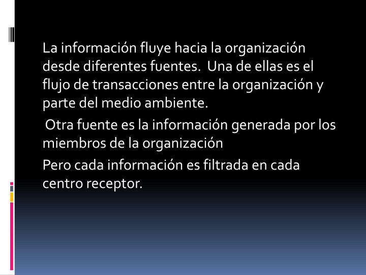 La información fluye hacia la organización desde diferentes fuentes.  Una de ellas es el flujo de transacciones entre la organización y  parte del medio ambiente.