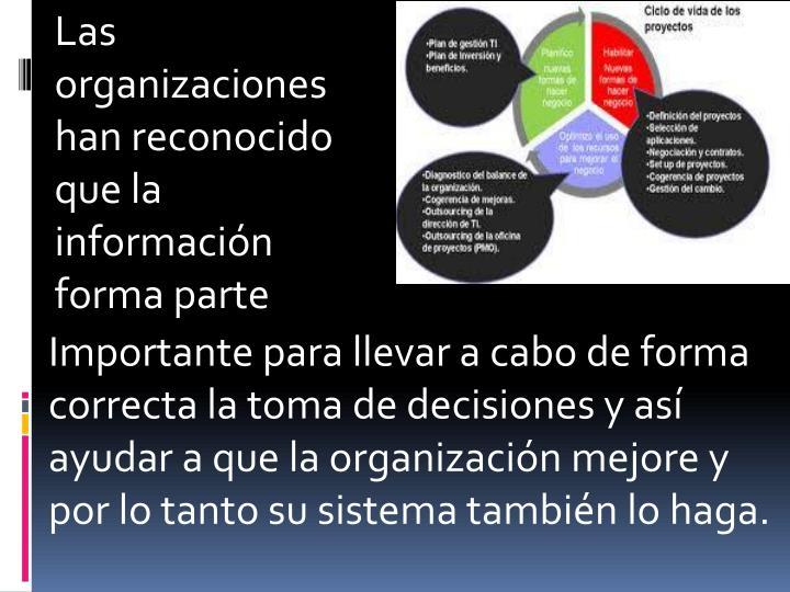 Las organizaciones han reconocido que la información forma parte