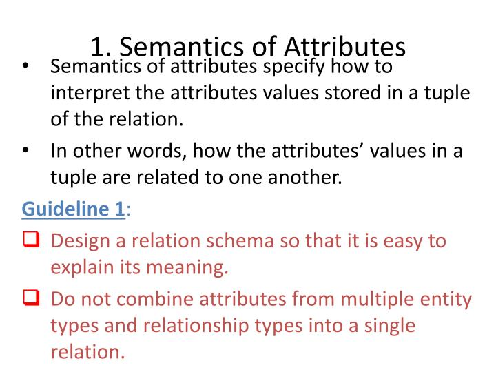 1. Semantics of Attributes
