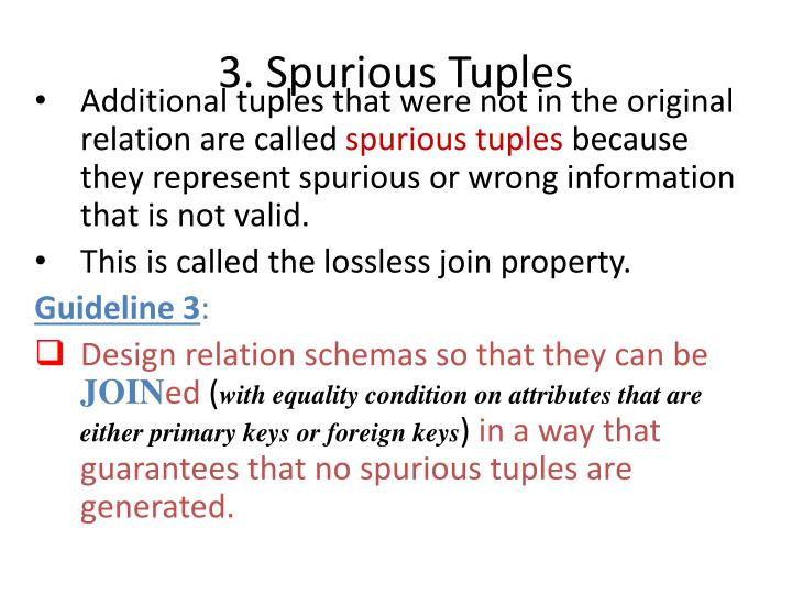 3. Spurious Tuples