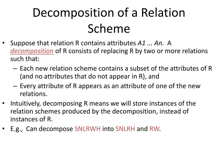 Decomposition of a Relation Scheme