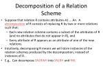 decomposition of a relation scheme