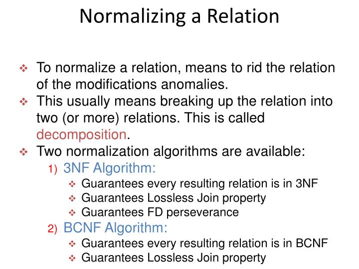 Normalizing a Relation