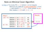 note on minimal cover algorithm