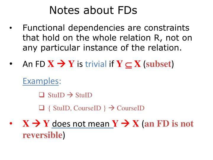 Notes about FDs