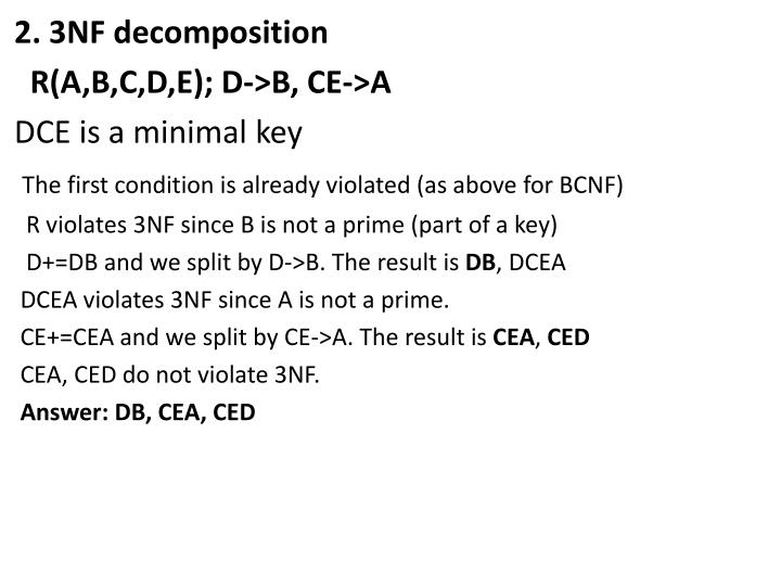 2. 3NF decomposition