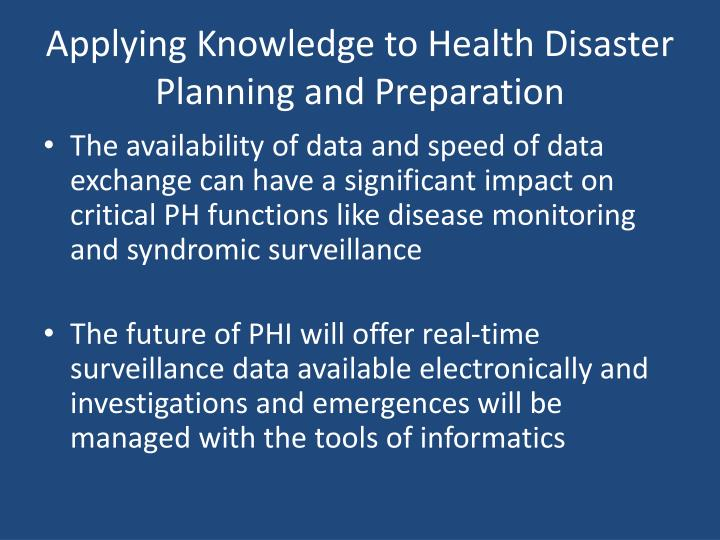 Applying Knowledge to Health Disaster Planning and Preparation