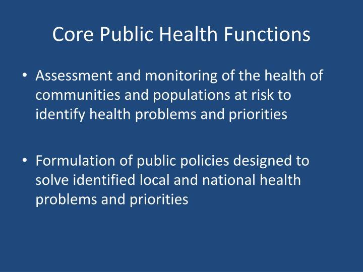 Core Public Health Functions