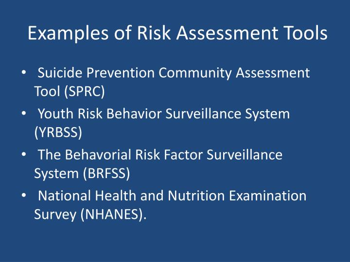 Examples of Risk Assessment Tools