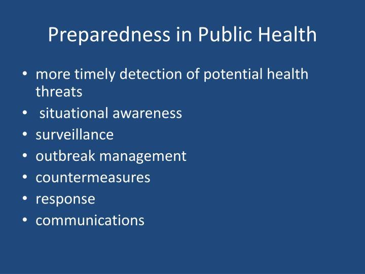 Preparedness in Public Health