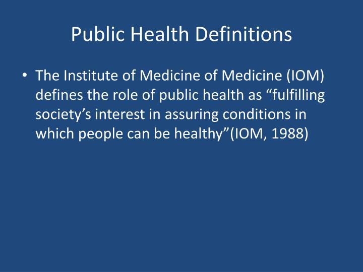 Public Health Definitions