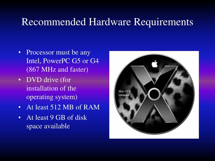 Recommended Hardware Requirements