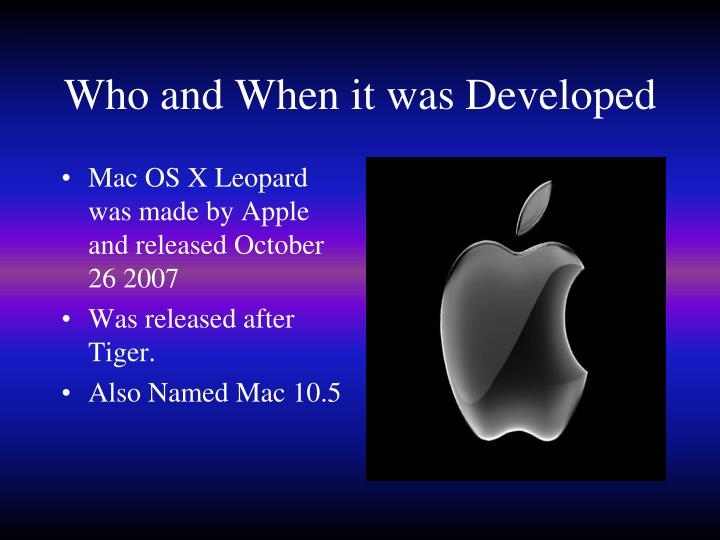 Who and when it was developed