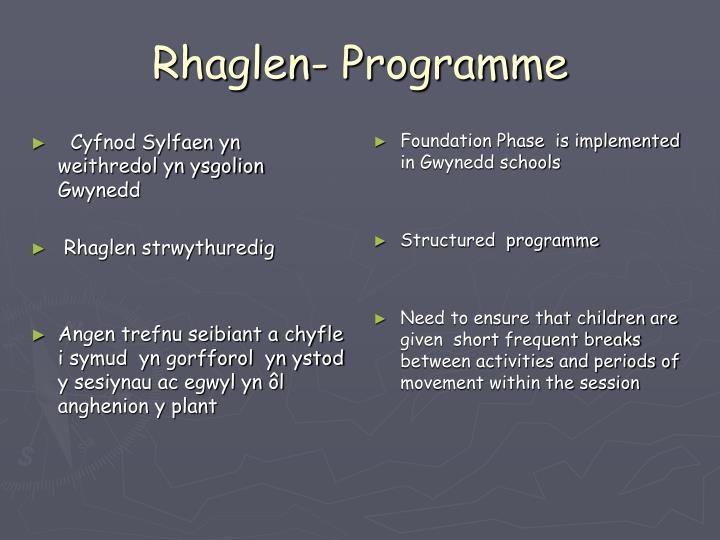 Rhaglen- Programme