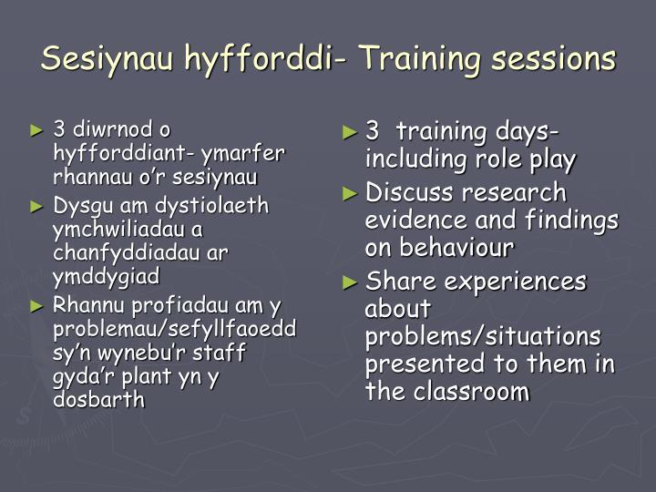 Sesiynau hyfforddi- Training sessions