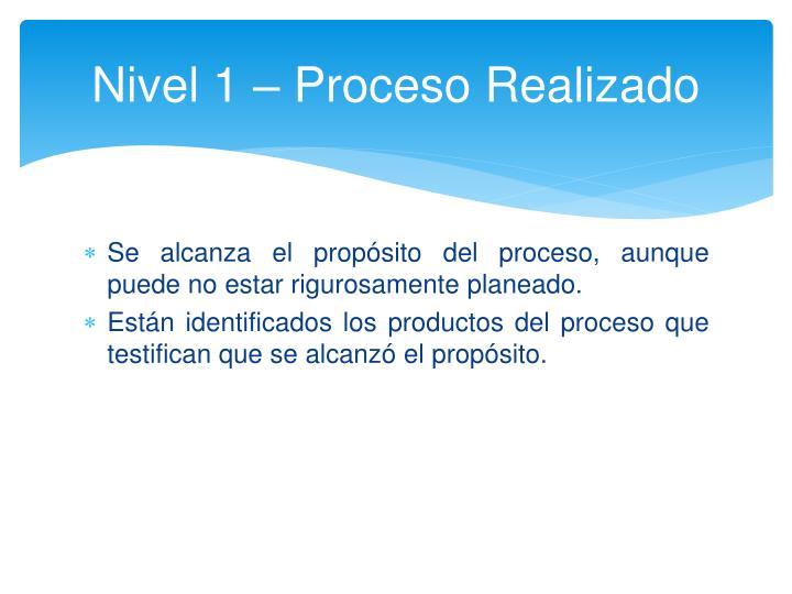 Nivel 1 – Proceso Realizado