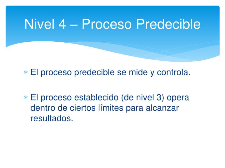Nivel 4 – Proceso Predecible