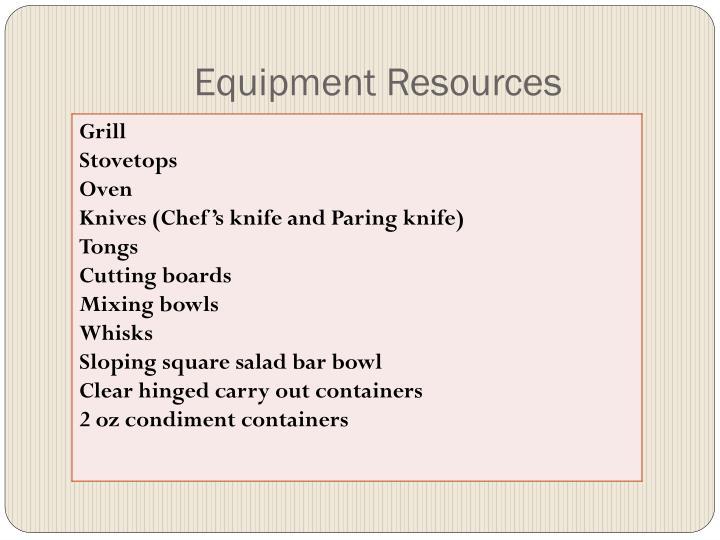 Equipment Resources
