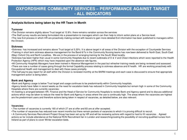 OXFORDSHIRE COMMUNITY SERVICES – PERFORMANCE AGAINST TARGET