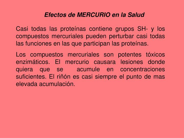 Efectos de MERCURIO en la Salud